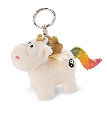 NICI- Llavero Unicornio Rainbow Yang 10cm, Color Blanco/Multicolor (47371)