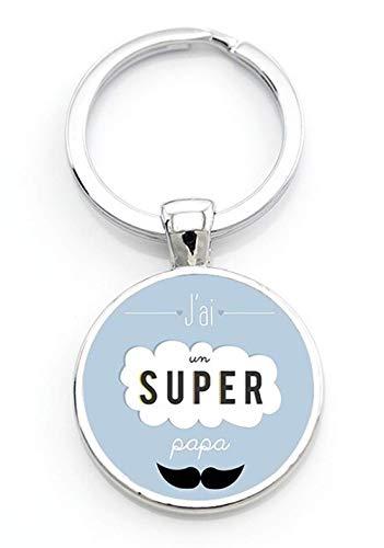 WAY2BB - Llavero para el Día del Padre, Tengo un Super Papa, talla única,