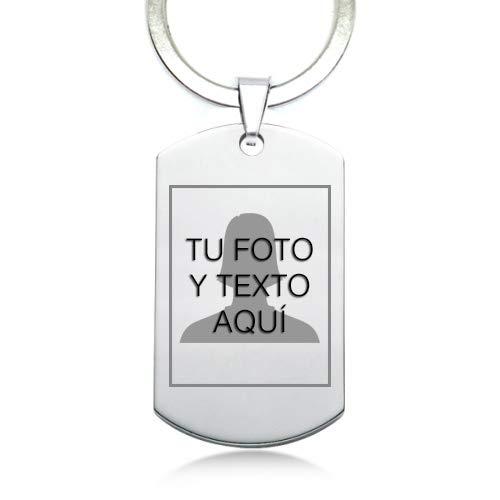TusPlacas Llavero con Foto Personalizada, Chapa de Acero Inoxidable Grabada con...