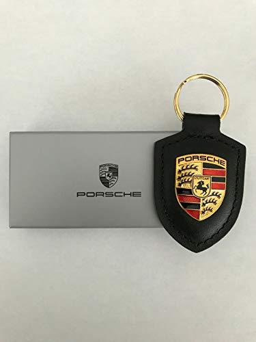 Porsche Schlüsselanhänger Wappen, Echtleder, Schwarz - WAP0500900E