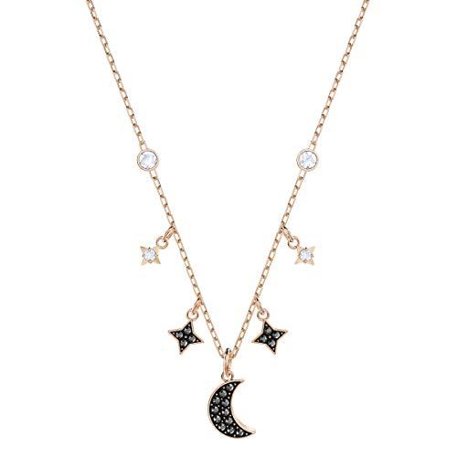 Swarovski Collar Swarovski Symbolic Moon, negro, Baño en tono Oro Rosa