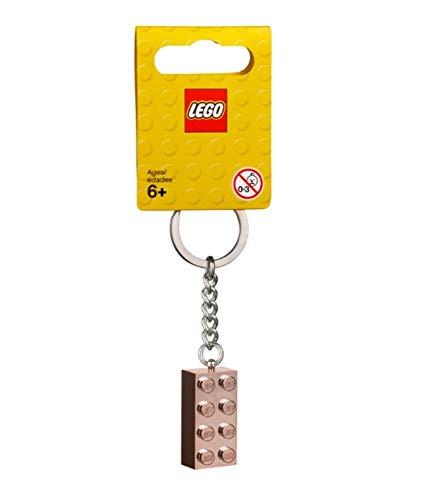 LEGO - Llavero de Oro Rosa, 2 x 4, diseño de ladrillo (853793)