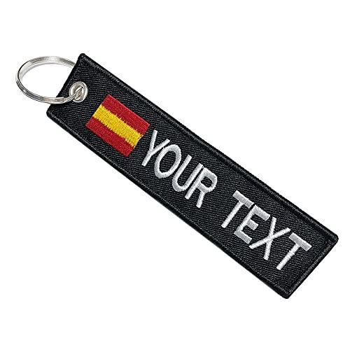 mvcen Llavero personalizado de la bandera de España, etiqueta de llaveros con...