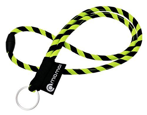 mia mai Tubular Lanyard (amarillo/negro, 45cm) Cordón de llaves para el cuello...