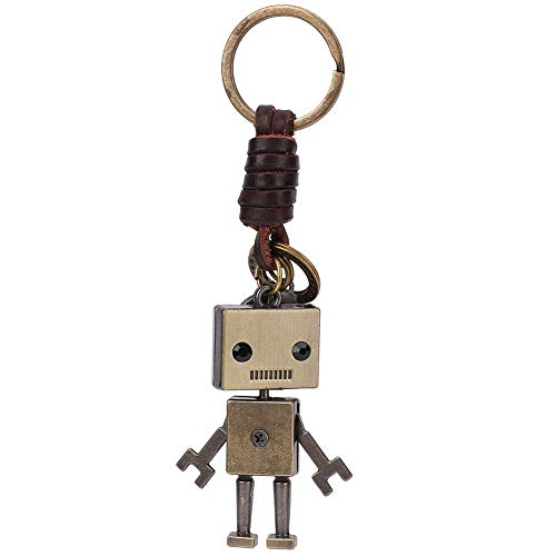Hztyyier Llavero Colgante de Robot Vintage, Llavero de Cuero Trenzado con...