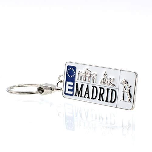 BDM Llavero de matrícula de Madrid con monumentos de la Ciudad para Hombre y...