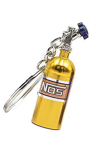 Llavero de Metal con forma de botella de oxido nitroso, nitros color oro