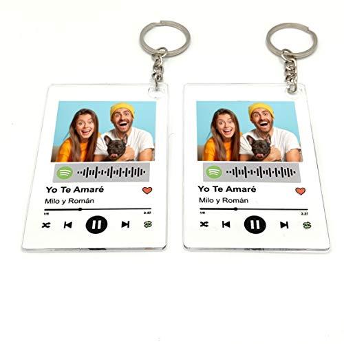 Llavero Acrílico (2 UNIDADES IGUALES) personalizado con canción y foto....