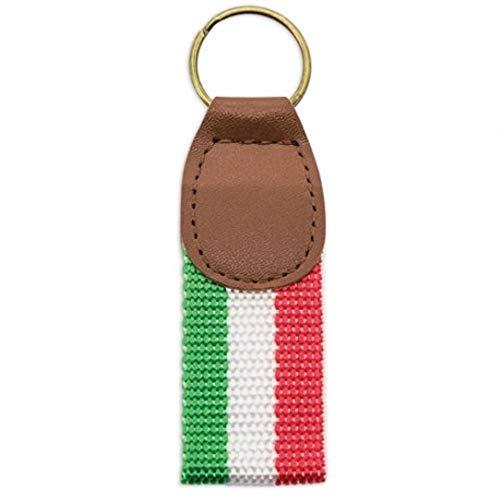 N/A. Llavero Bandera de ITALIA de lona y polipiel. Anilla metálica