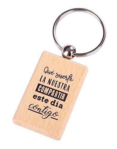 Lote de 12 Llavero de Madera con Frases Suerte La Nuestra - Llaveros con Frases...