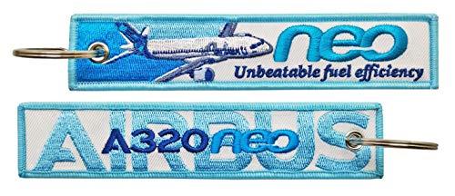 Tacro Llavero Airbus A320 NEO Unbeatable Fuel Efficiency Bordado Blue Keychain