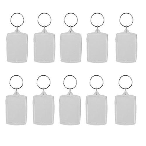 Lote de 10 llaveros con anilla y marco para fotos DIY, rectangular, vírgenes, 4...