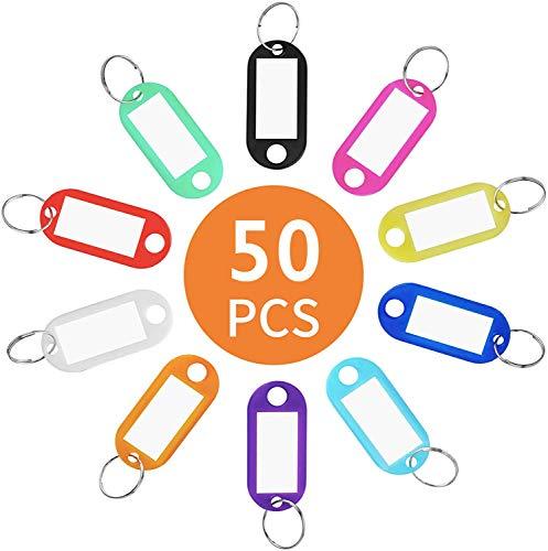 Llaveros con Etiqueta,50 Unidades Llavero con Anillo de Plástico ID Llaveros...