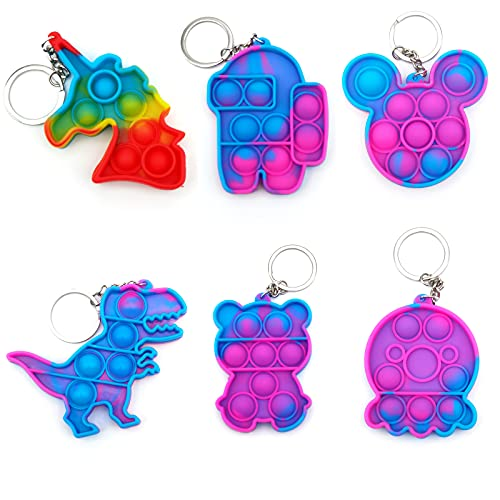 6 Pcs Mini Pop Fidget Simple Dimple Toy,Mini Push Pop Fidget Toy Keychain,Mini...