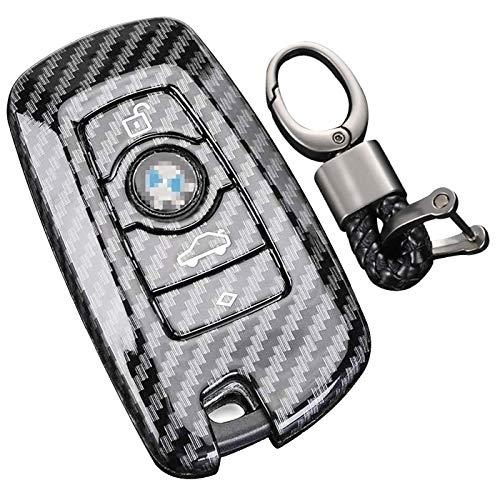 Spurtar Funda para llave de fibra de carbono para BMW, 4 botones, entrada sin...
