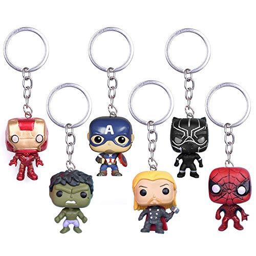6Pcs Marvel Fans Llavero SuperH The Avengers Llavero Deadpool Colgante Llaveros...