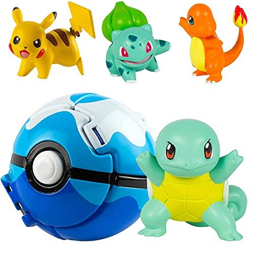 Pokemon Ball Pokemon Throw N Pop Ball con 4 figuras de acción de Pikachu –...