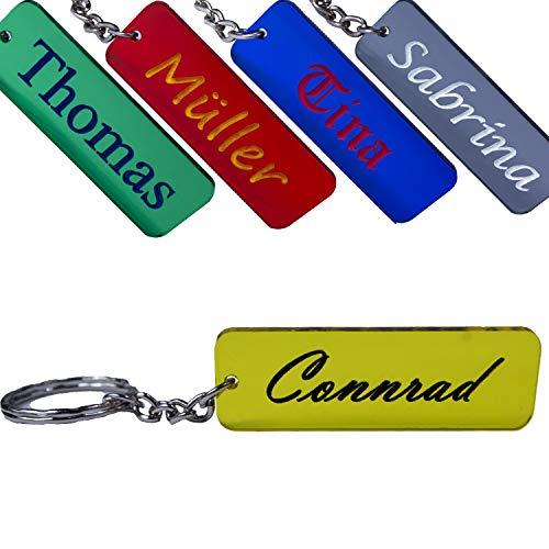 Llavero con nombre personalizable, grabado en color