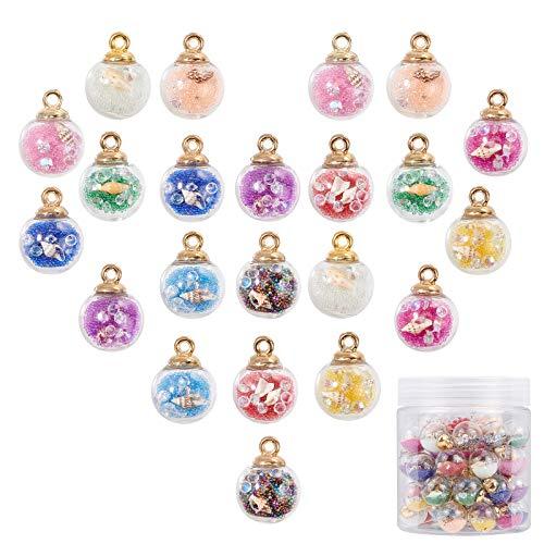PandaHall 66 colgantes de bolas de cristal de 11 colores de 16 mm con cuentas de...