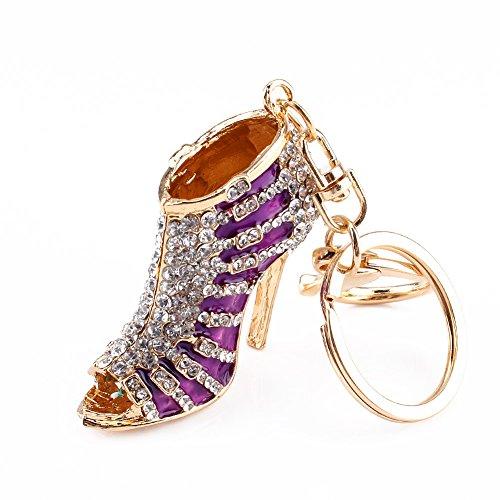 Wifehelper - Llavero de Estilo tacón Alto con diseño de Zapatos de Cristal y...
