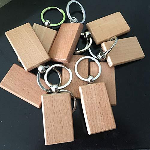 MoonyLI Llavero de madera con bisel de madera, colgante personalizado en blanco...