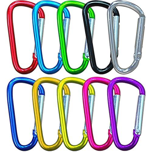 10Pcs Premium Aluminio Mosquetón Set, Pequeño Mosquetón Bloqueo,...