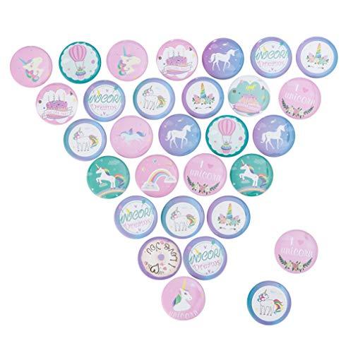30 Piezas Unicornio Colorido Insignia de Botones Pin Broche de Unicornio para...