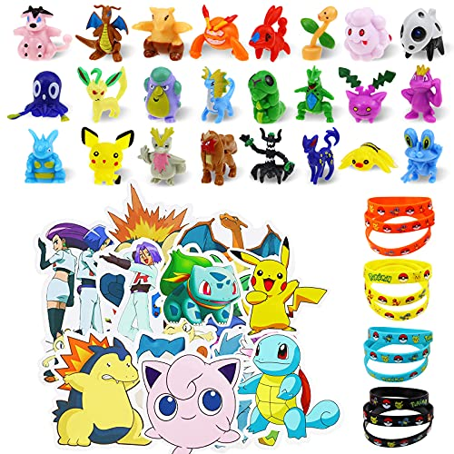 Lunriwis figuras pokemon Monster,24 mini figuras pokemon pikachu 12 Pulsera de...