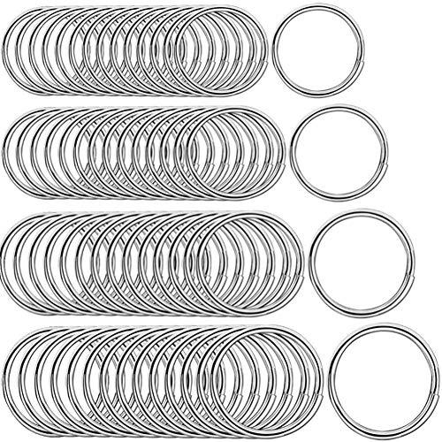 100 llaveros de acero inoxidable, 4 tamaños Llavero Aleación Plateada anillos...