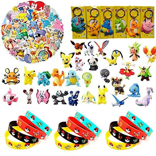 YAOJIN 24 Piezas Pokemon Monster Mini Figur, 12 Pokemon Pulsera de Silicona, 50...